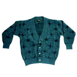 VTG 80s Starburst Pattern GRUNGE Cardigan Teal BLK